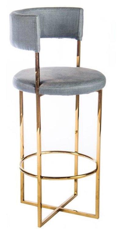rom grey velvet stool