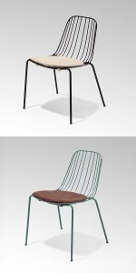 Metal chairs with seat pads